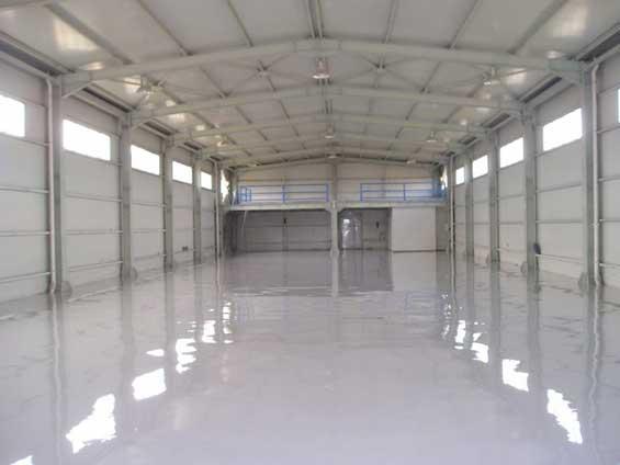shiny hallway with epoxy floors